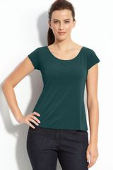 Eileen Fisher Scoop Neck Silk Tee - Lyst