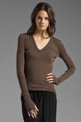 Enza Costa Cashmere Cuffed V- Neck Sweater - Lyst
