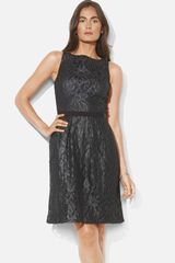 Lauren by Ralph Lauren Bateau Neck Metallic Lace Dress Petite - Lyst