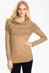 Michael by Michael Kors Fringed Cowl Sweater Petite - Lyst