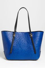 Michael Kors Gia Small Ostrich Embossed Leather Tote in Blue (sapphire) - Lyst