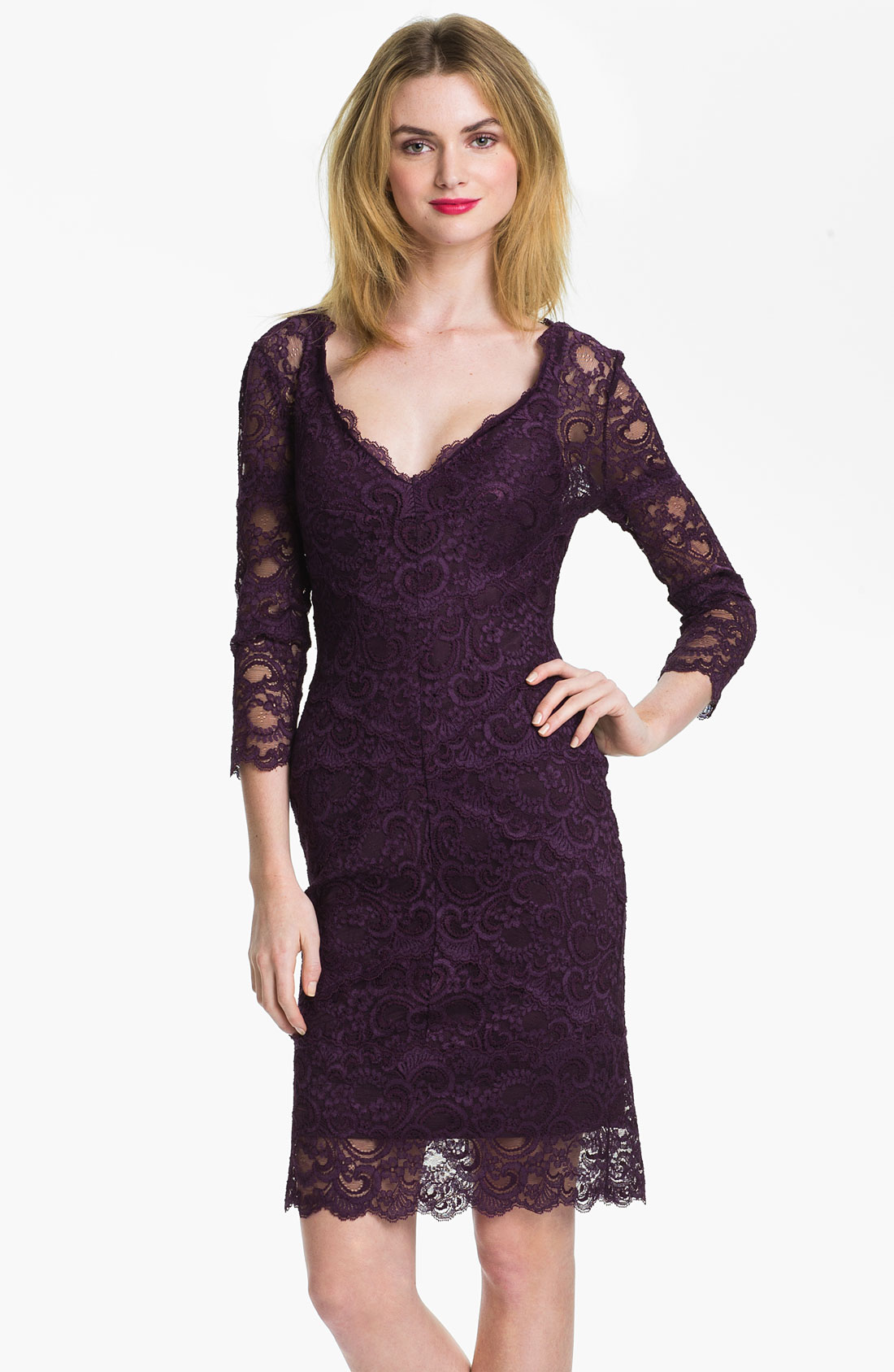 Purple dress with black lace overlay