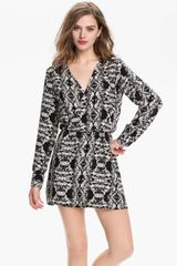 Parker Faux Wrap Print Silk Dress - Lyst
