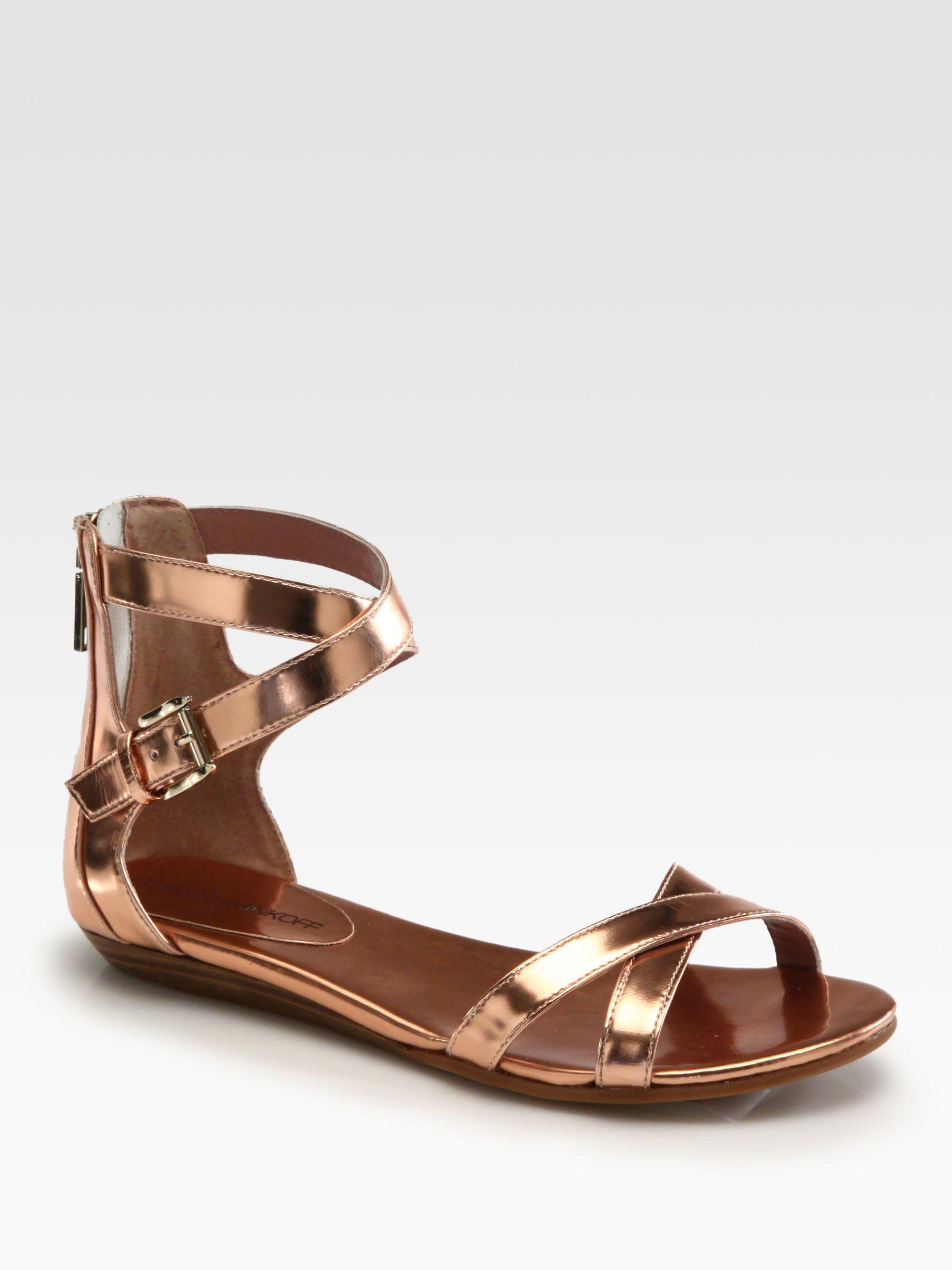 3b7ac289c27f7 Lyst - Rebecca Minkoff Bettina Metallic Leather Sandals in Metallic