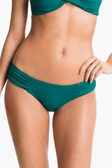 Robin Piccone Shirred Side Bikini Bottoms - Lyst