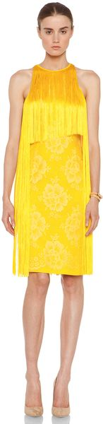 Stella McCartney Mix Cady Lace Fringe Dress  - Lyst
