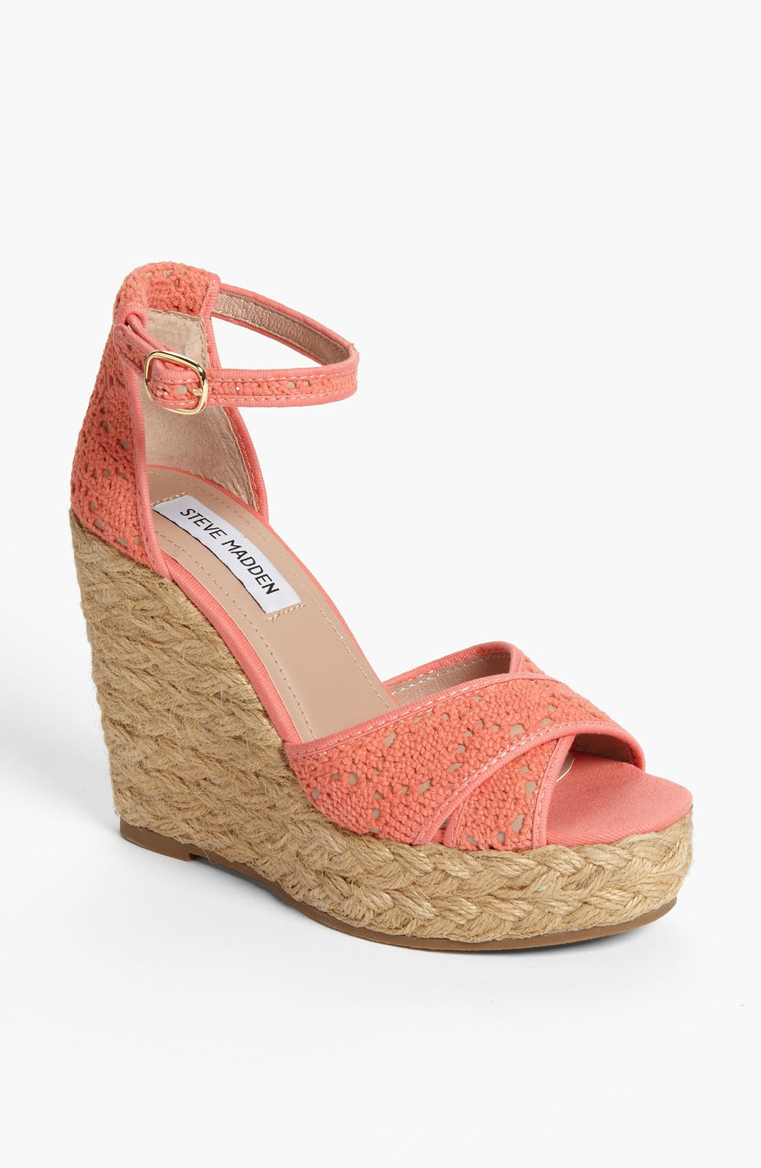 Steve Madden Espadrille Wedge In Pink Coral Lyst