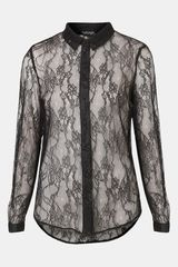 Topshop Sheer Lace Shirt - Lyst