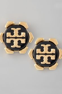 Tory Burch Walter Logo Stud Earrings Black - Lyst