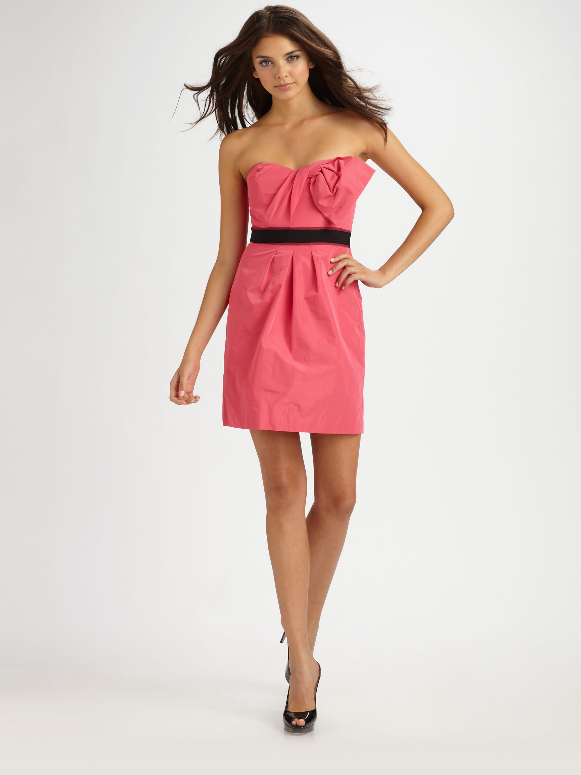 bcbgmaxazria strapless contrast belt dress in pink lyst
