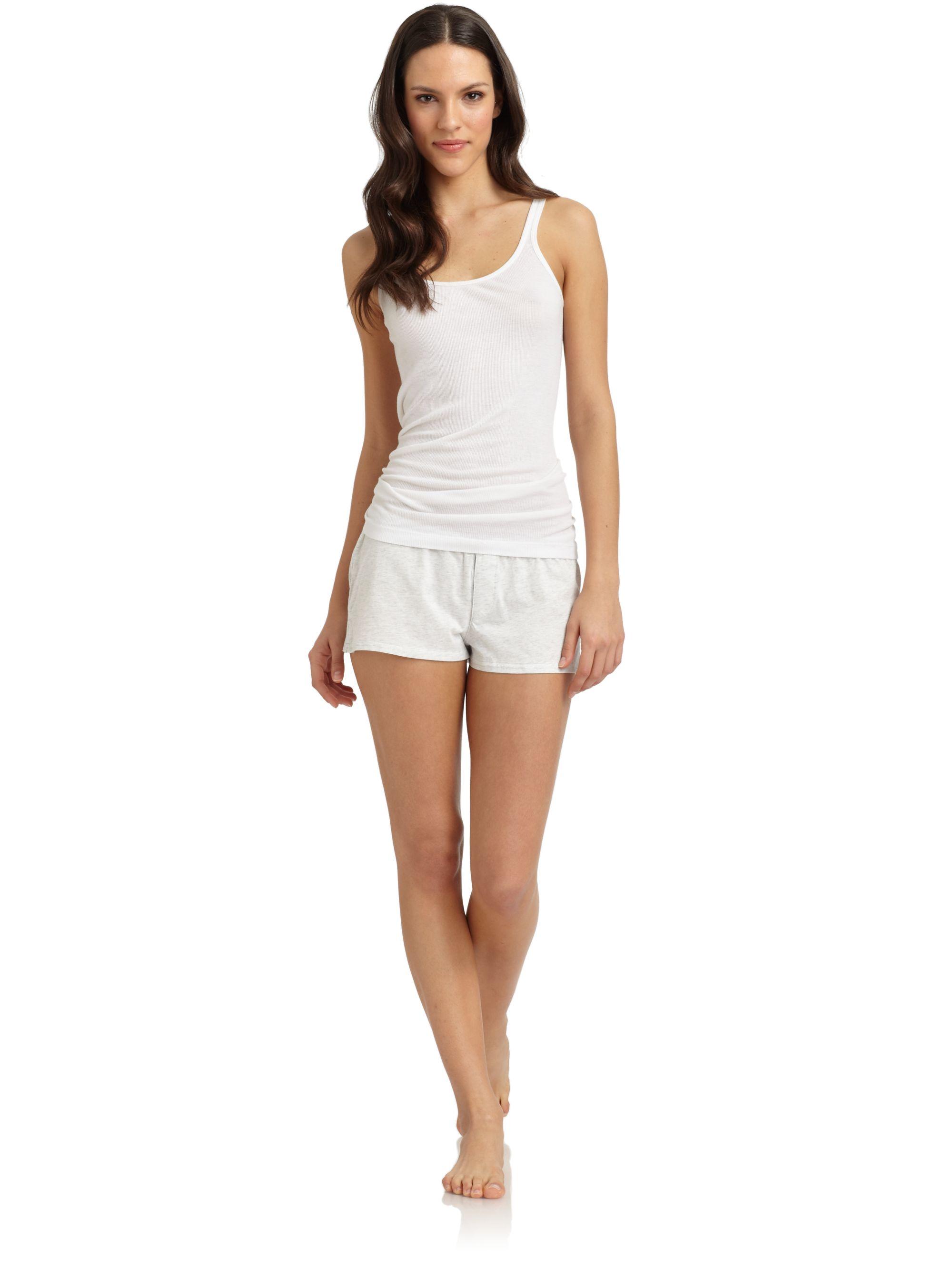 Donna karan new york pajama shorts in white grey lyst for Donna karan new york