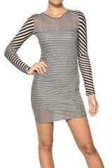 Etoile Isabel Marant Easton Super Light Jersey Striped Dress in Charbon in Black (white) - Lyst