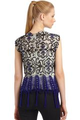 Giorgio Armani Intricate Beaded Fringe Detail Top - Lyst
