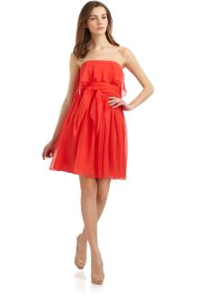 Halston Heritage Silk Chiffon Strapless Cocktail Dress - Lyst