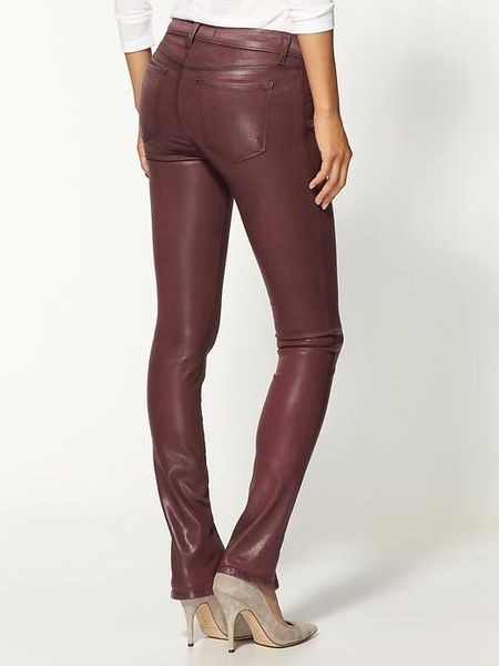 J Brand Vera Wax Coated Jeans In Red Coated Burgundy Lyst