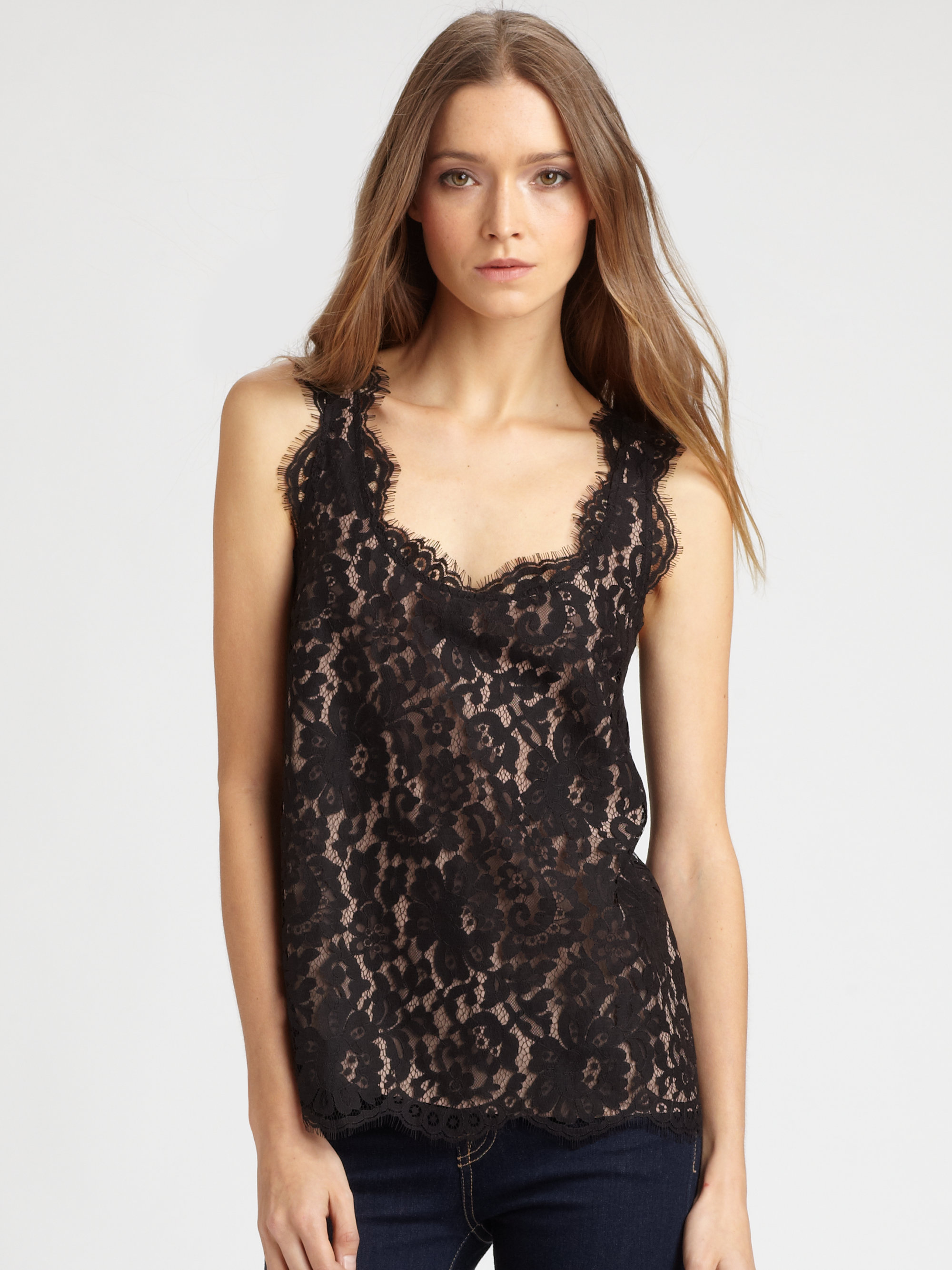 Joie Andelle Lace Tank Top Lyst