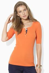 Lauren by Ralph Lauren Elbowsleeved Scoopneck Top - Lyst