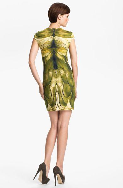 Mcq By Alexander Mcqueen Cap Sleeve Dress In Green Beige