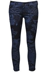 Mother Denim The Cropped Looker Jean in Blue (floral) - Lyst