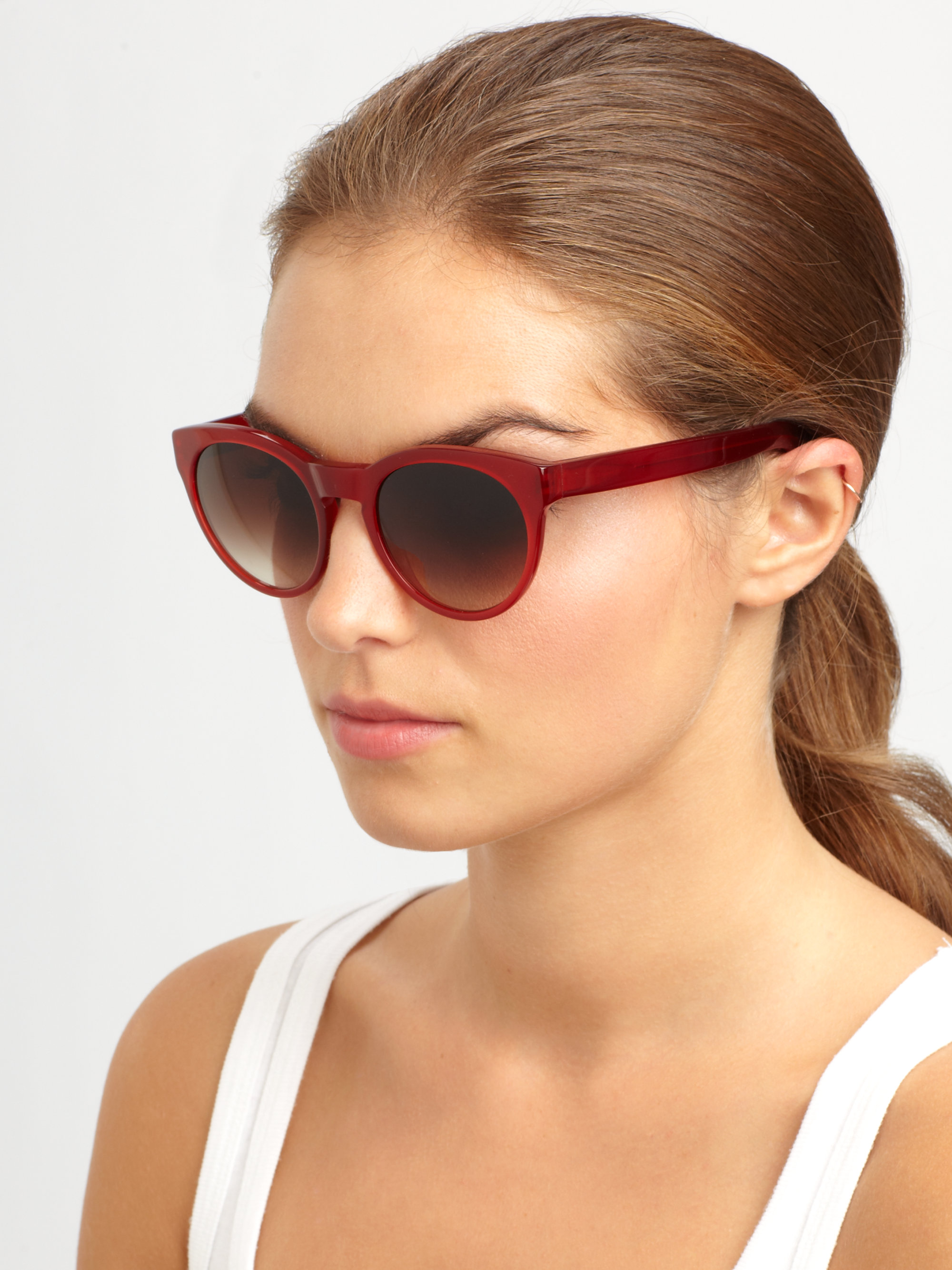 95aa6aa3970 Lyst - Oliver Peoples Alivia Round Acetate Sunglasses in Red