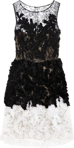 Oscar de la Renta Chantilly Lace and Organza Dress - Lyst