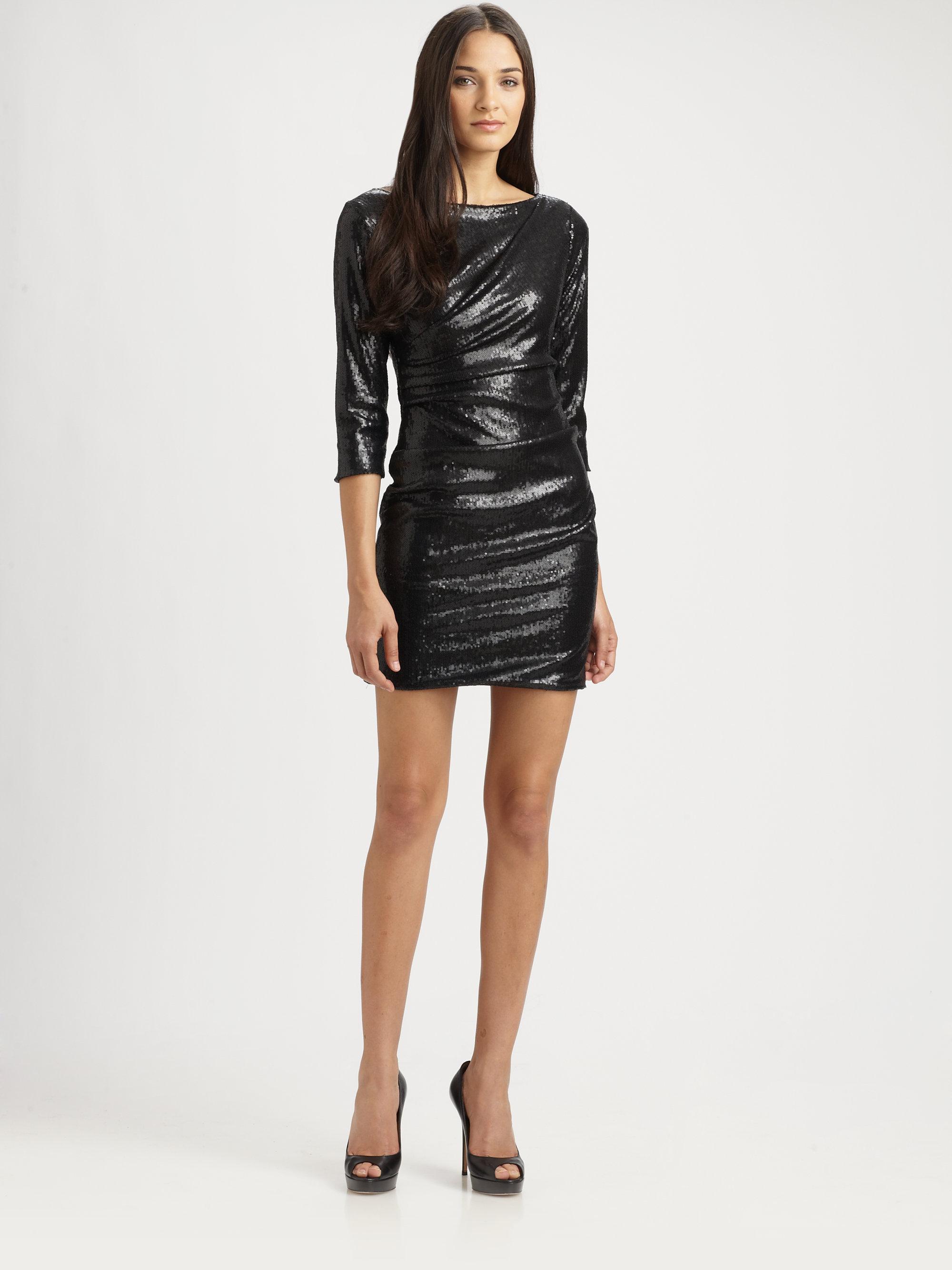 Lyst Parker Sequin Mini Dress In Black