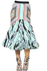 Peter Pilotto Ruffled Printed Silk Cloquet Skirt - Lyst
