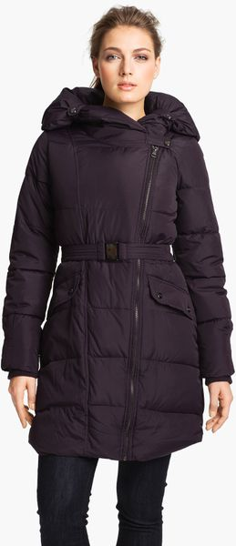 Steve Madden Asymmetrical Quilted Coat in Purple (plum)