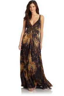 Theia Silk Satin Abstract Print Crossback Gown - Lyst