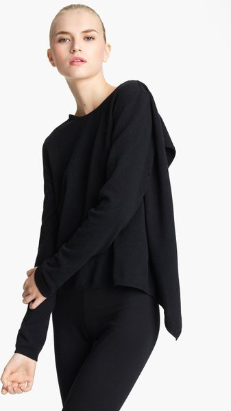 Vionnet Crepe Back Knit Top in Black
