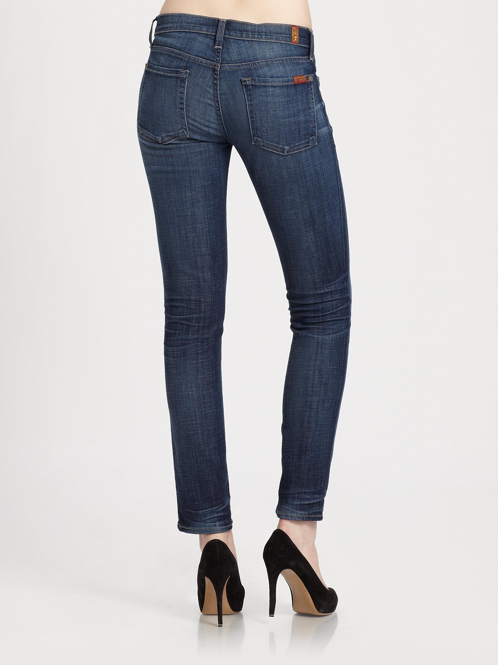 7 for all mankind the slim cigarette jeans in blue lyst. Black Bedroom Furniture Sets. Home Design Ideas