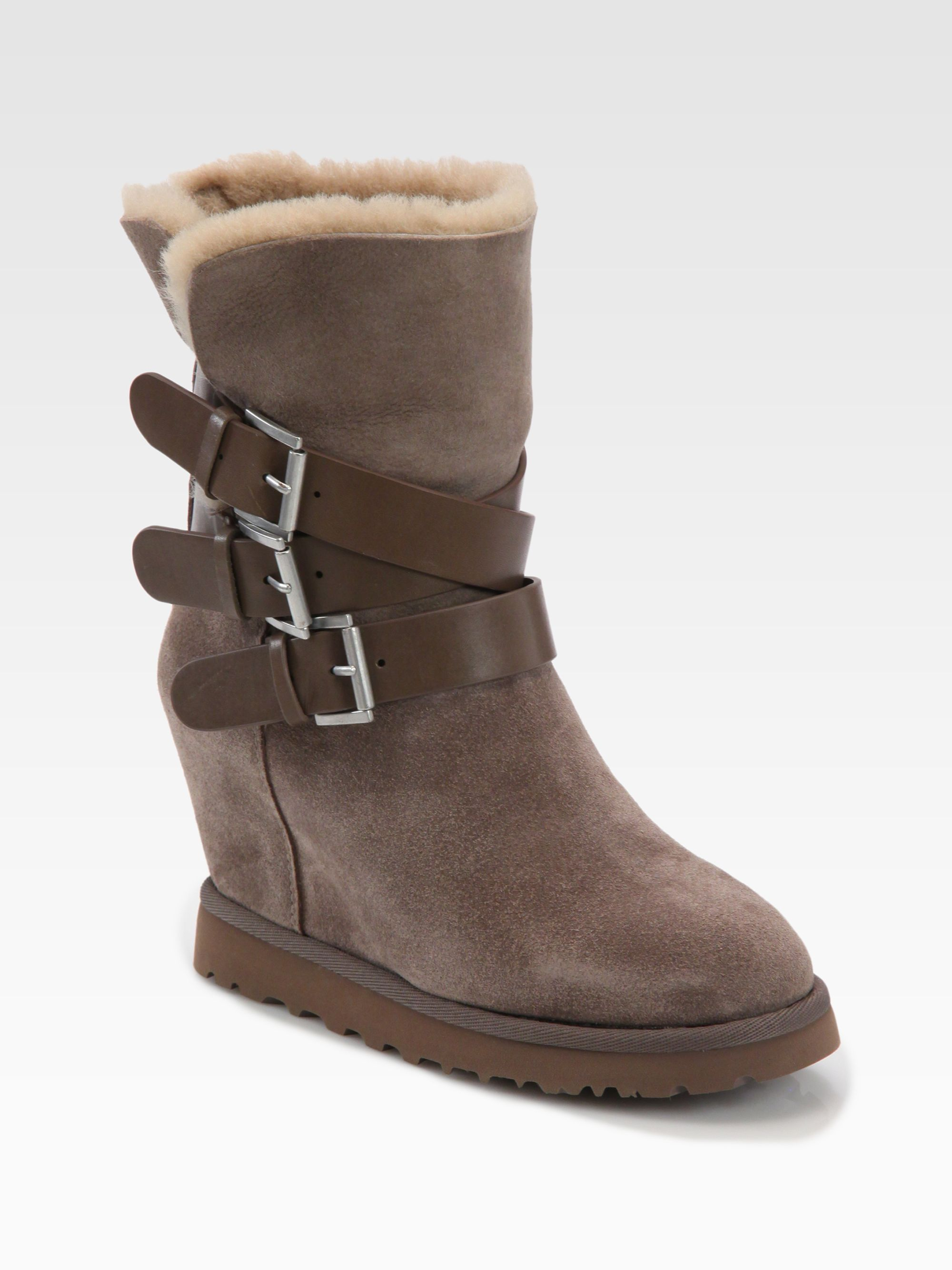 ash yes suede leather wedge boots in brown taupe lyst