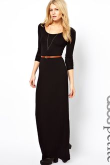 Long Sleeve Maxi Dress on Asos Petite Exclusive Long Sleeve Maxi Dress With Belt In Green  Khaki