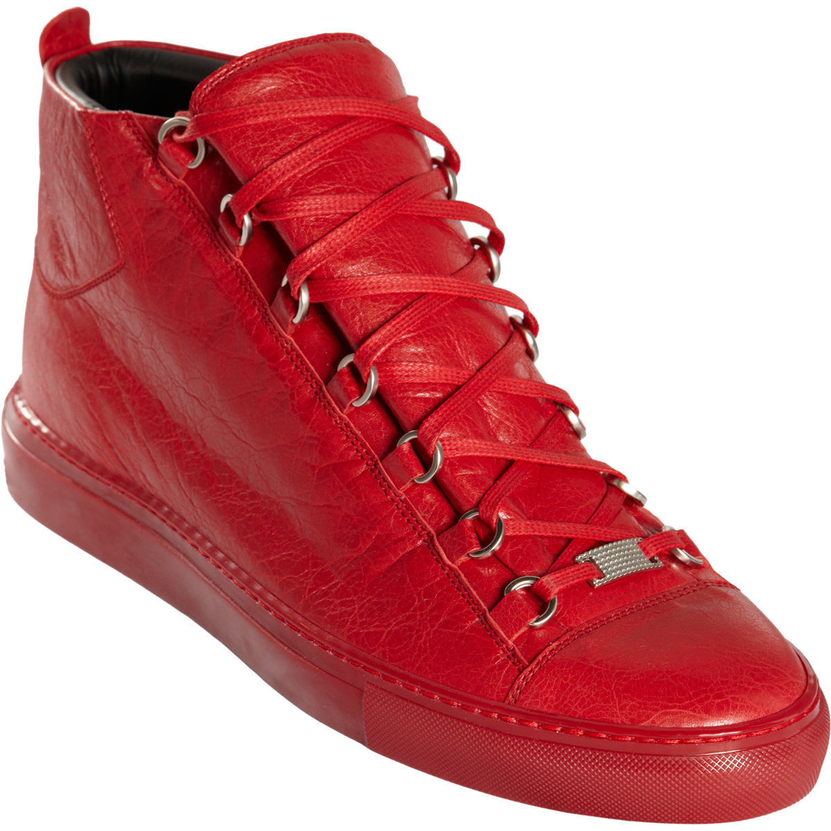 balenciaga arena leather high top sneakers in red for men lyst. Black Bedroom Furniture Sets. Home Design Ideas
