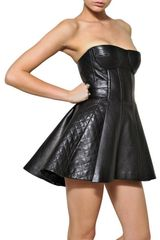 Balmain Quilted Nappa Leather Strapless Dress in Black - Lyst