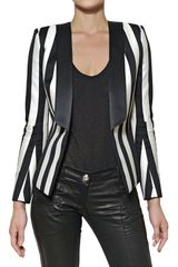 Balmain Striped Satin and Cotton Jacket - Lyst