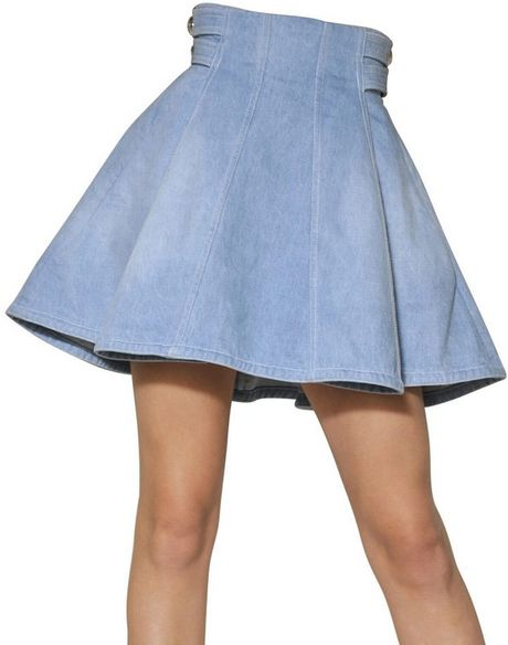 balmain cotton denim skater skirt in blue lyst