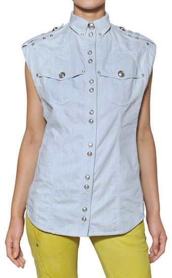 Balmain Washed Cotton Denim Sleeveless Shirt - Lyst