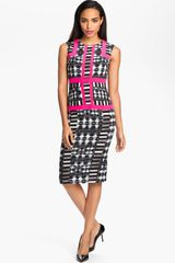 BCBGMAXAZRIA Print Sleeveless Sheath Dress