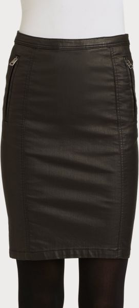 burberry brit coated denim skirt in black lyst