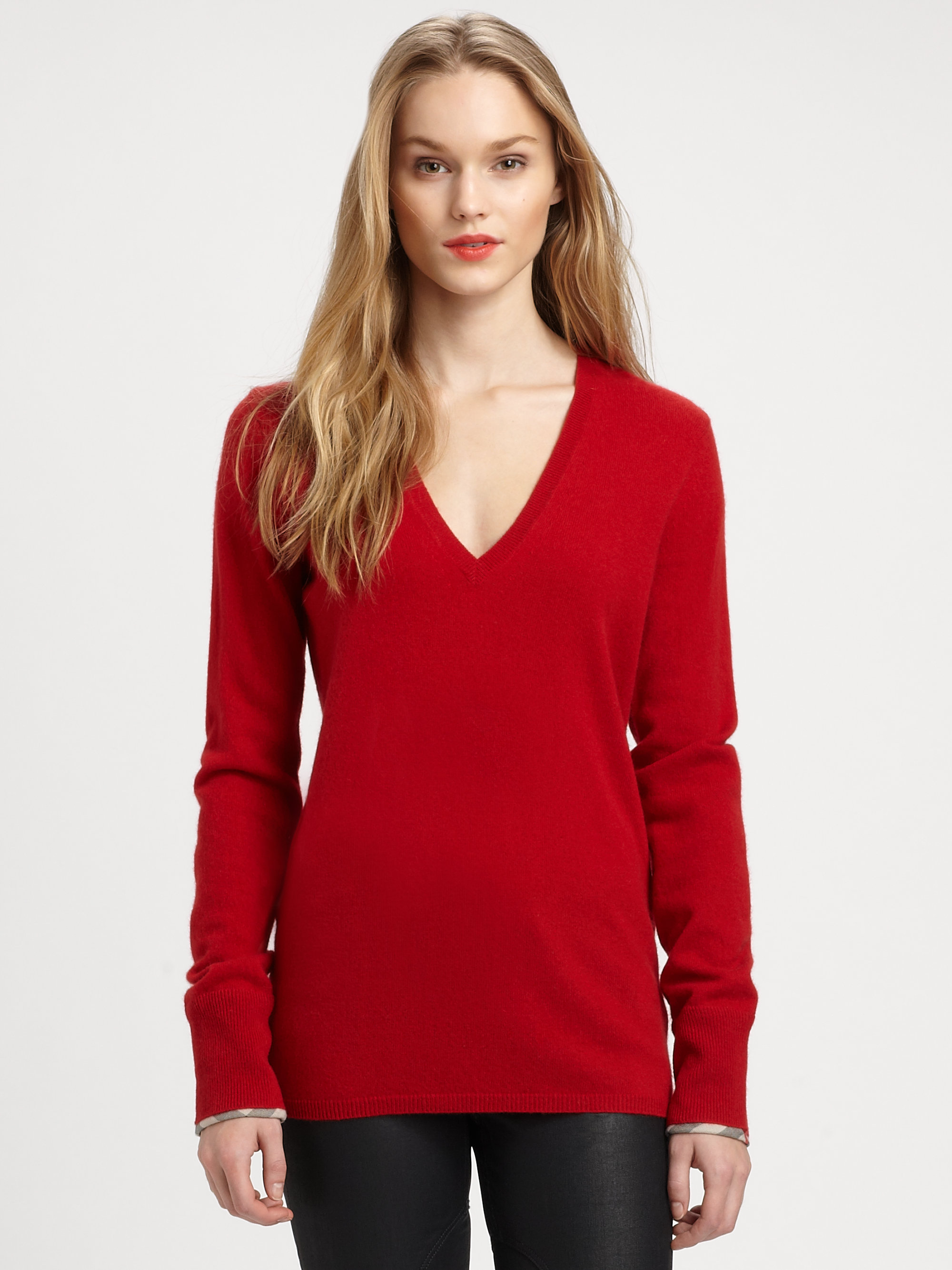 Burberry brit Cashmere V-Neck Sweater in Red | Lyst