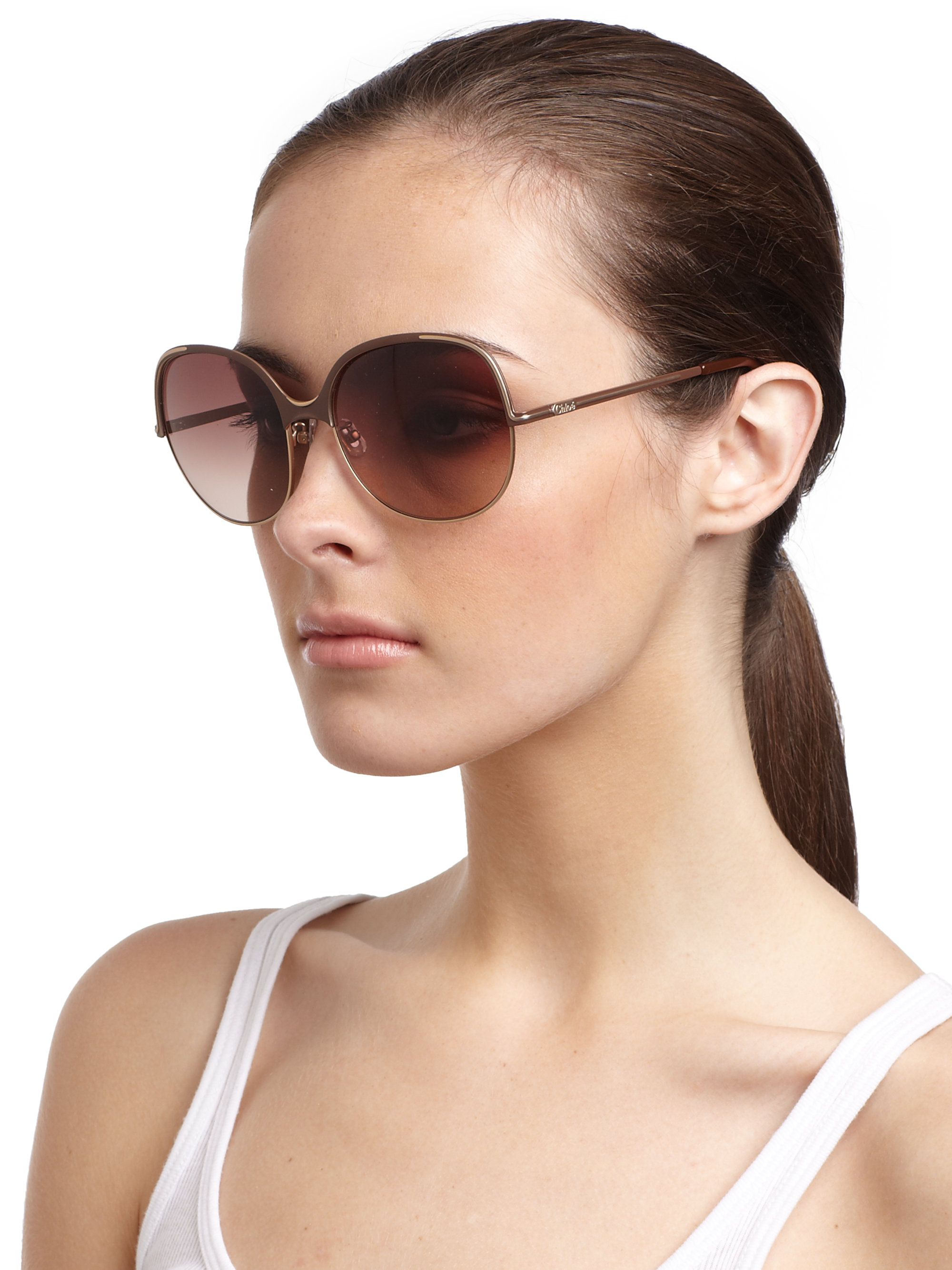 9b1d3fd99a Chloé Oversized Metal Sunglasses in Brown - Lyst