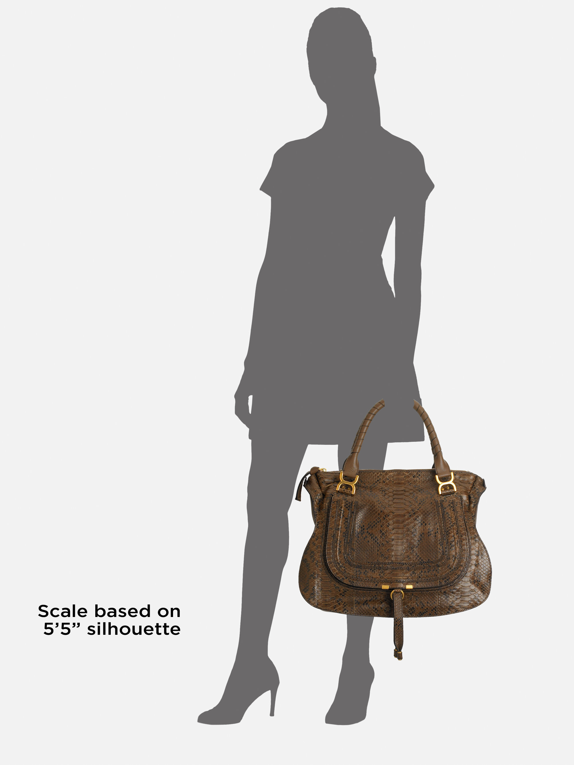 Chlo¨¦ Marcie Large Python Shoulder Bag in Brown | Lyst