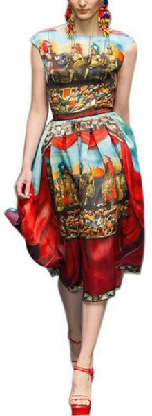Dolce & Gabbana Puppets Printed Silk Organza Dress in Red - Lyst