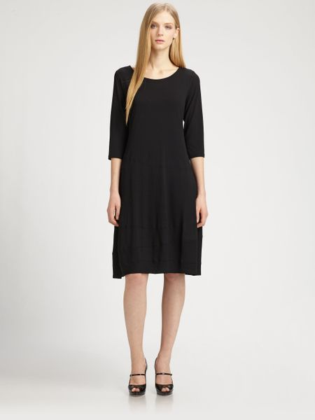 Eileen Fisher Jersey Dress in Black - Lyst