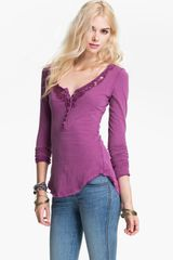 Free People Legacy Crochet Neck Henley Top - Lyst