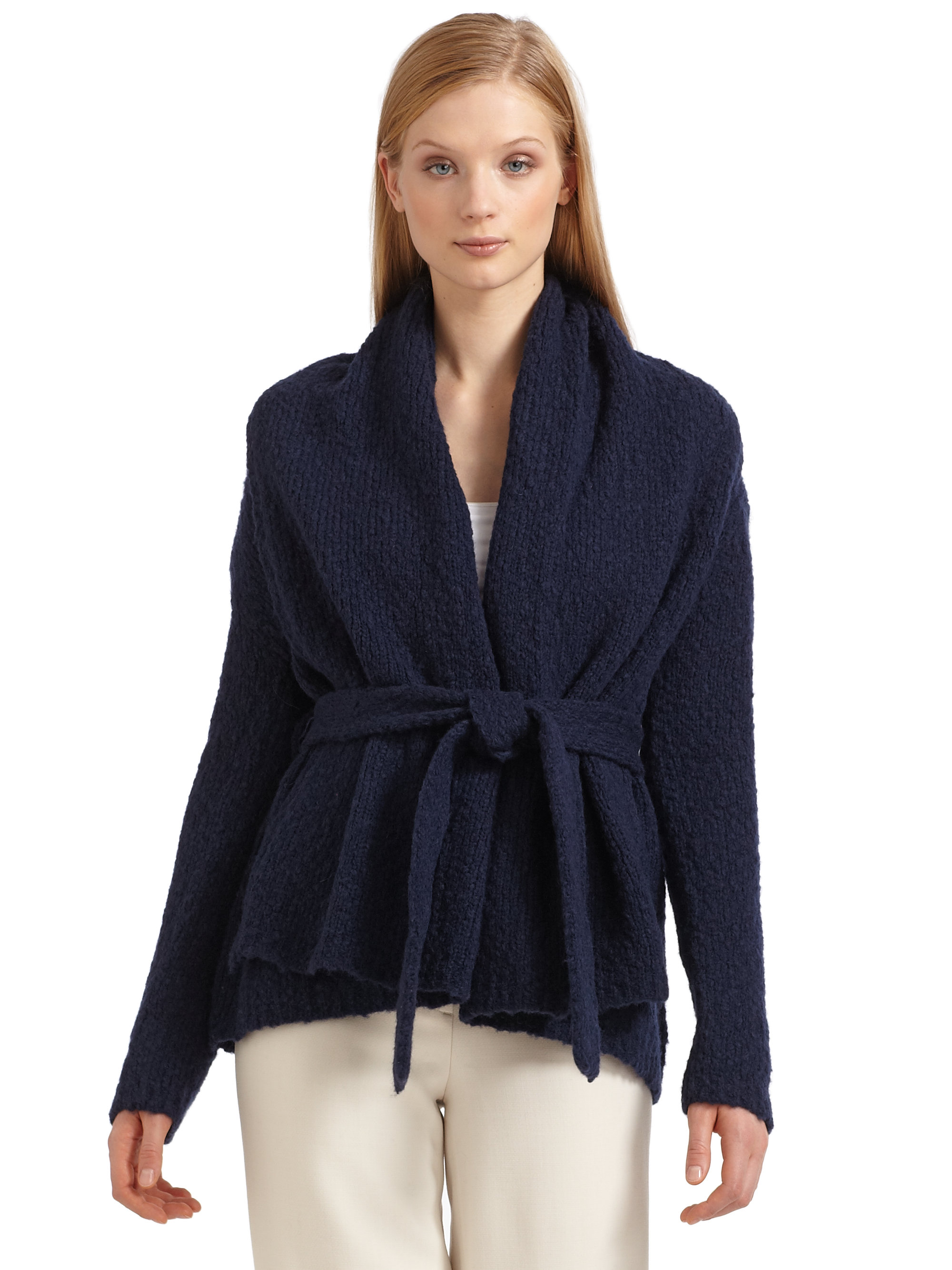 Halston Belted Cozy Cardigan in Blue | Lyst