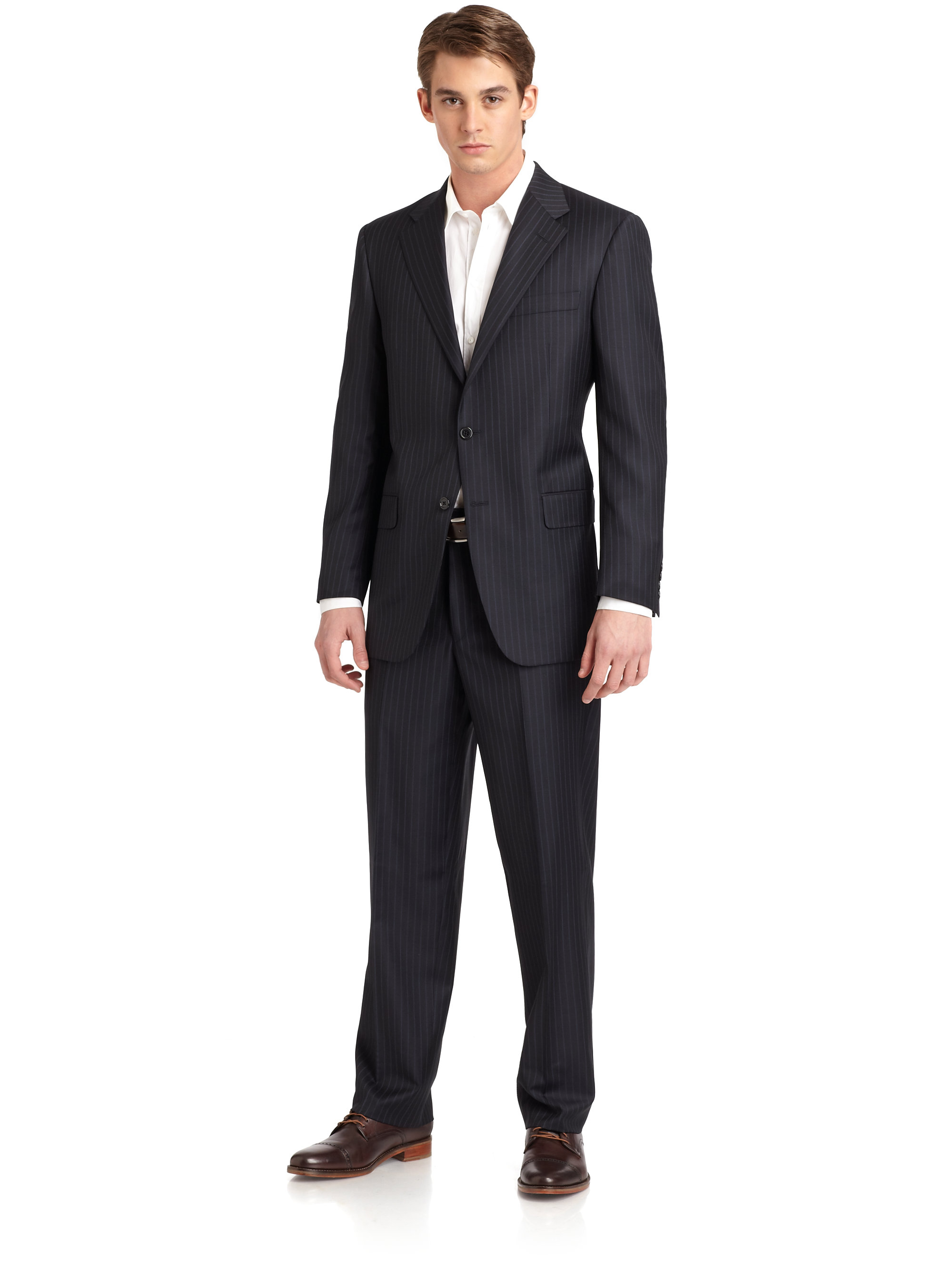 Hickey Freeman Lindsey L Series Wool Striped Suit In Black