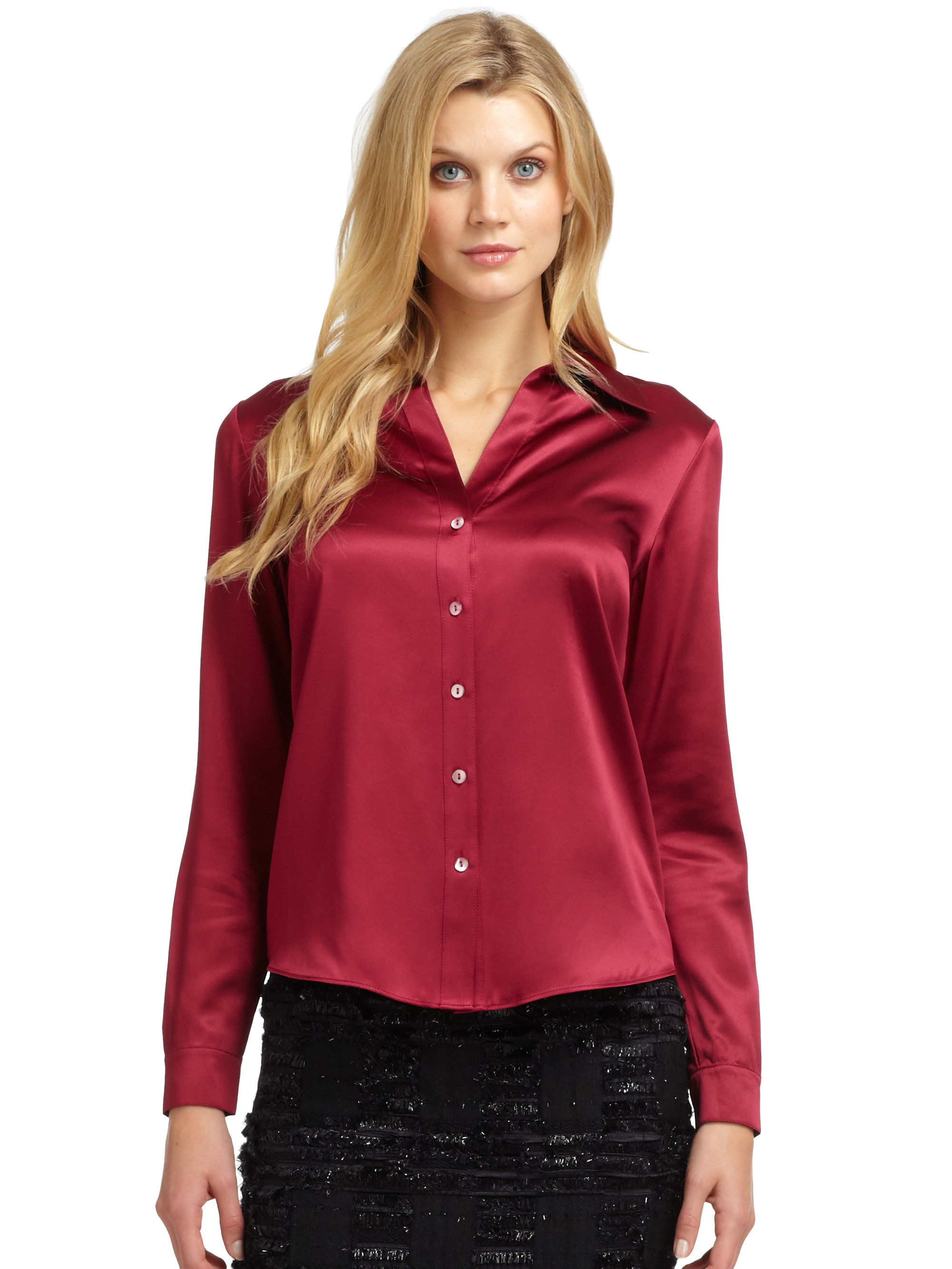 Lafayette 148 New York Silk Satin Blouse In Red Berry Lyst