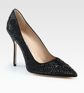 Manolo Blahnik Crystal Coated Satin Pumps - Lyst